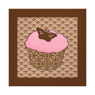 Strawberry Pink Frosted Cupcake Canvas Print