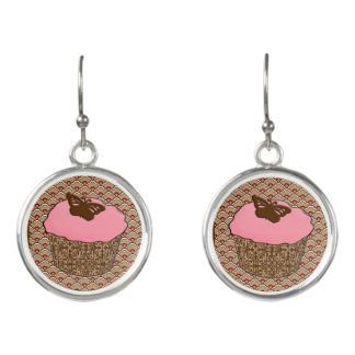 Strawberry Pink Frosted Cupcake Earrings