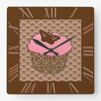 Strawberry Pink Frosted Cupcake Square Wall Clock