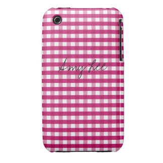 Strawberry Pink Gingham Customizable iPhone 3 Covers