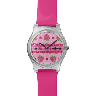 Strawberry Pink Gingham Hearts Message Name Watch Watches