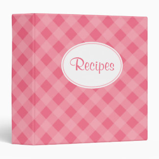 Strawberry Pink Gingham Recipe Binder