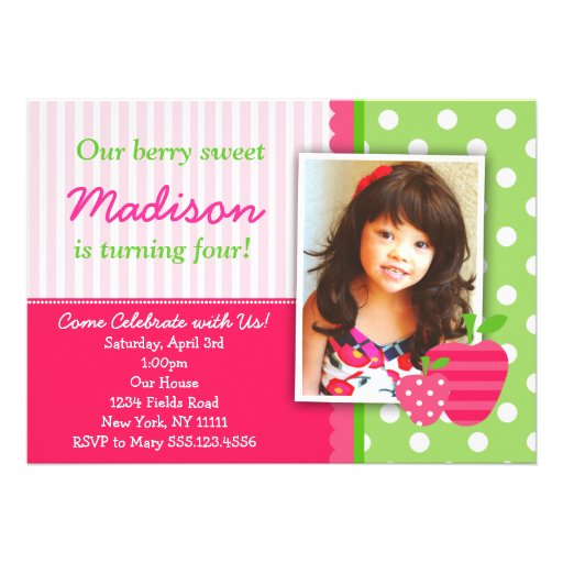 Strawberry Pink Green Birthday Party Invitations