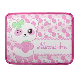 Strawberry pink Kawaii Panda bear Sleeves For MacBook Pro
