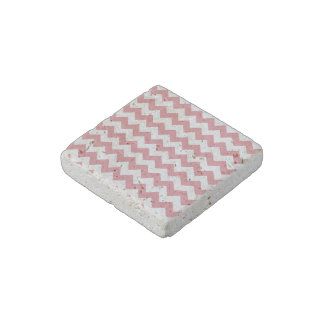 Strawberry Pink White Chevron Pattern Stone Magnet