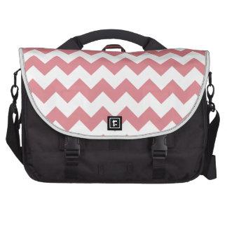 Strawberry Pink White Chevron Pattern Laptop Bags