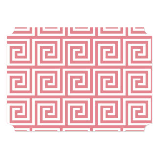 Strawberry Pink White Greek Key Pattern 5x7 Paper Invitation Card