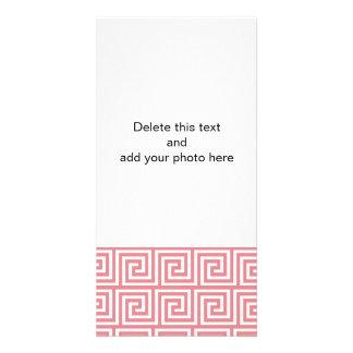 Strawberry Pink White Greek Key Pattern Personalized Photo Card