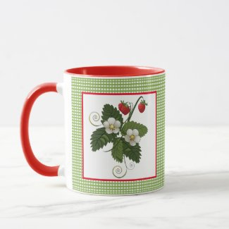 Strawberry Plant with Gingham Border Mug