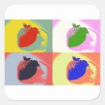Strawberry Pop Art Square Stickers