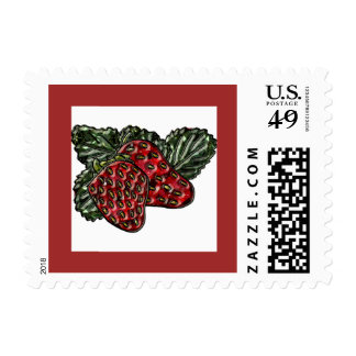 Strawberry Postage Stamps