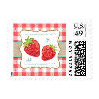 Strawberry Postage Stamps Summer fruit Red white