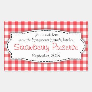 Strawberry preserve or jam jar food label sticker