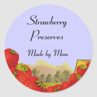 Strawberry Preserves Custom Canning Labels Sticker
