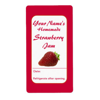 Strawberry Preserves Custom Jam Jar Labels