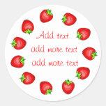 Strawberry Preserves Labels Classic Round Sticker
