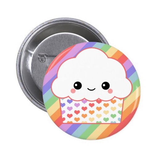 Strawberry Rainbow Cupcake Buttons