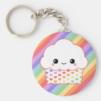 Strawberry Rainbow Cupcake Keychain