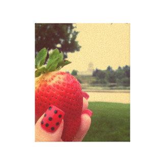 Strawberry Red Polka Dots Nails Canvas Print