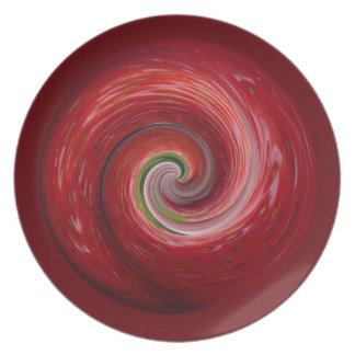 Strawberry ripple, abstract swirl. party plate