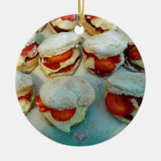Strawberry Scones/Cakes Ceramic Ornament