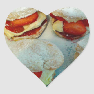 Strawberry Scones/Cakes Heart Sticker