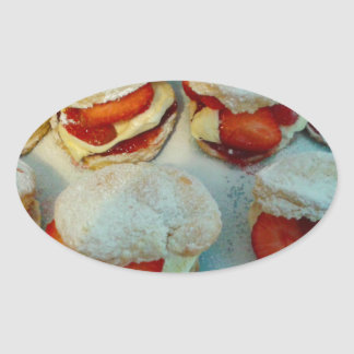 Strawberry Scones/Cakes Oval Sticker