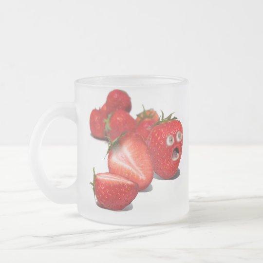 Strawberry Shock Frosted Glass Coffee Mug