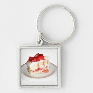 Strawberry Shortcake Silver-Colored Square Keychain