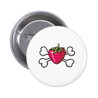 strawberry Skull and Crossbones Button