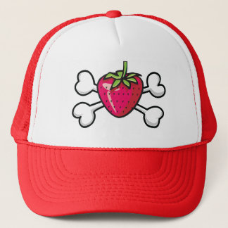 strawberry Skull and Crossbones Trucker Hat