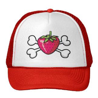 strawberry Skull and Crossbones Trucker Hat