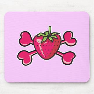 strawberry Skull pink Crossbones Mousepad