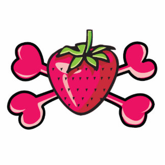 strawberry Skull pink Crossbones Acrylic Cut Outs