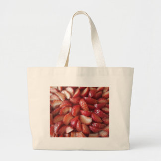 Strawberry Slices, Healthy Food Snack, Red Fruit Large Tote Bag