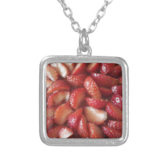 Strawberry Slices, Healthy Food Snack, Red Fruit Square Pendant Necklace