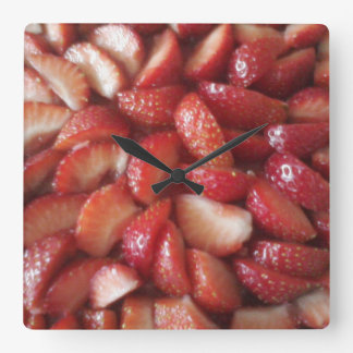 Strawberry Slices, Healthy Food Snack, Red Fruit Square Wall Clock