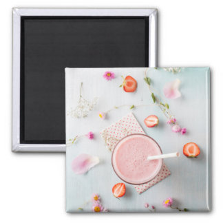 Strawberry smoothie 2 inch square magnet