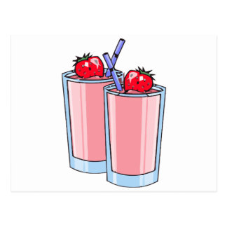 strawberry smoothie postcard