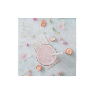 Strawberry smoothie stone magnet