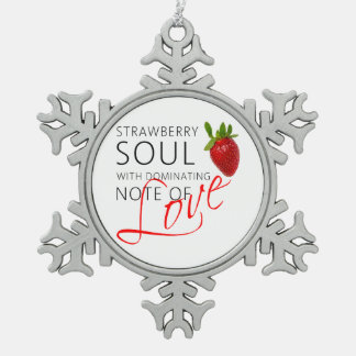 Strawberry Soul Snowflake Pewter Christmas Ornament