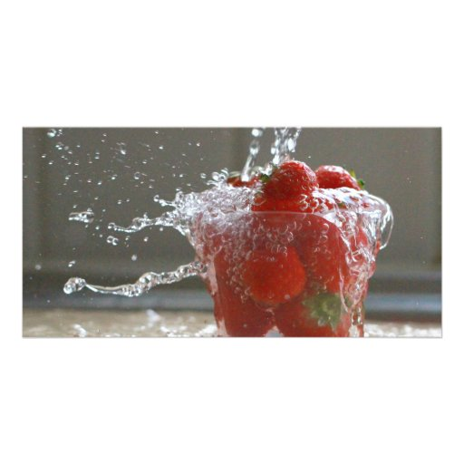 Strawberry Splash Photocard Photo Card Template