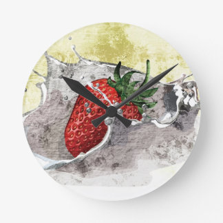 Strawberry Splash Round Clock