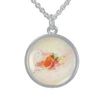 Strawberry Splash! Watercolor Sterling Silver Necklace