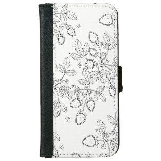 Strawberry Spray Line Art Design Wallet Phone Case For iPhone 6/6s