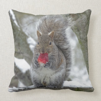 Strawberry squirrel throw pillow