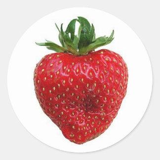 Strawberry Round Stickers