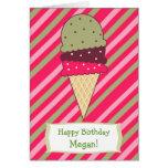 Strawberry Stripes Ice Cream Birthday Card