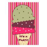 Strawberry Stripes Ice Cream Party Invitation
