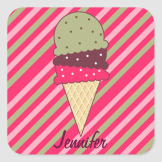 Strawberry Stripes Ice Cream Square Sticker